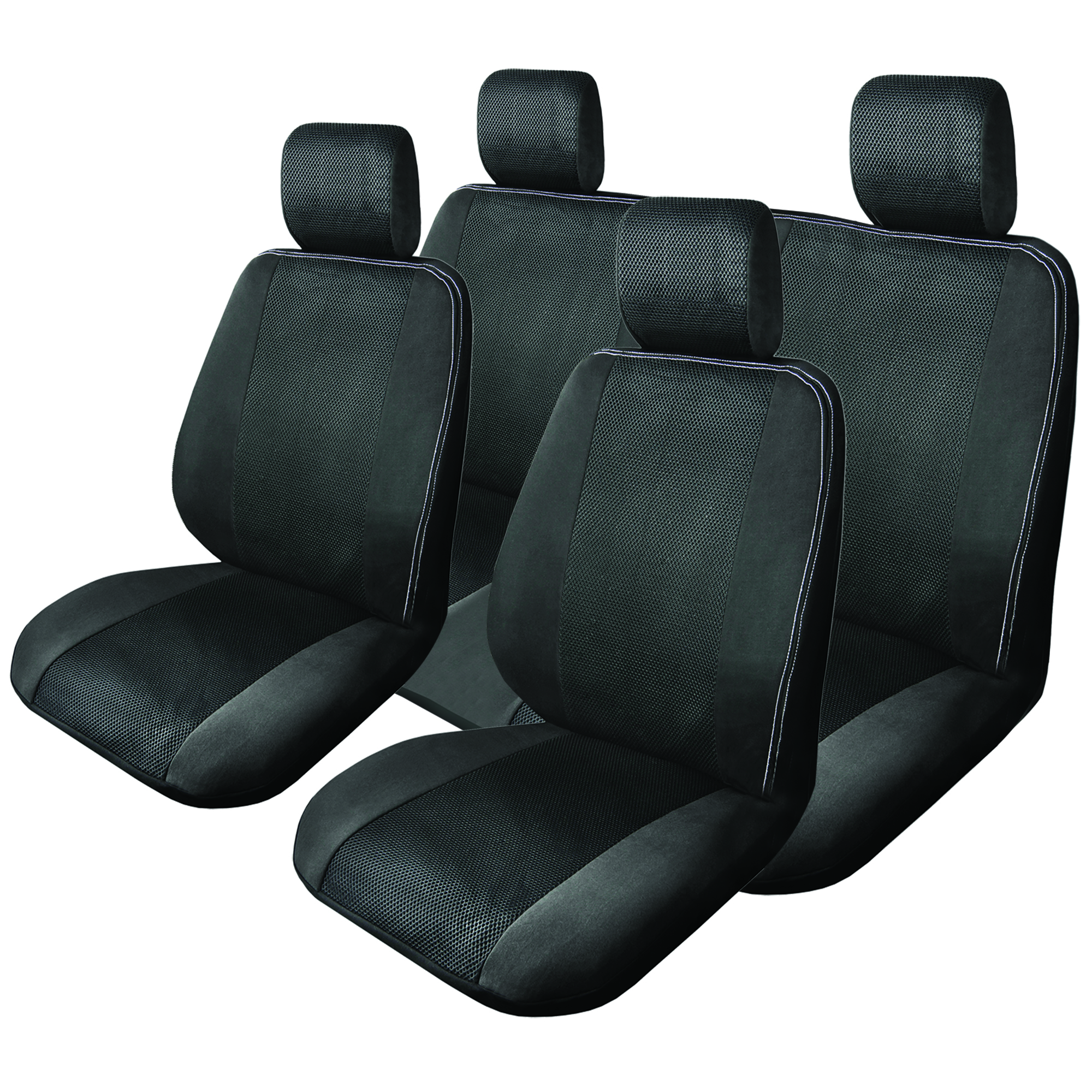 Black Mesh Full Set Car Seat Cover Auto Seat Covers Masque