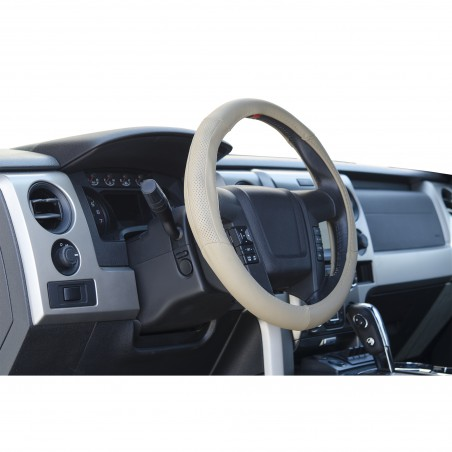 Beige Leather steering wheel cover for trucks