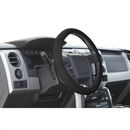 Black Leather steering wheel cover for trucks