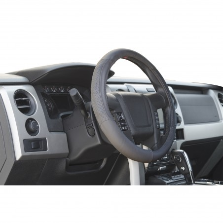 grey leather steering wheel cover for trucks