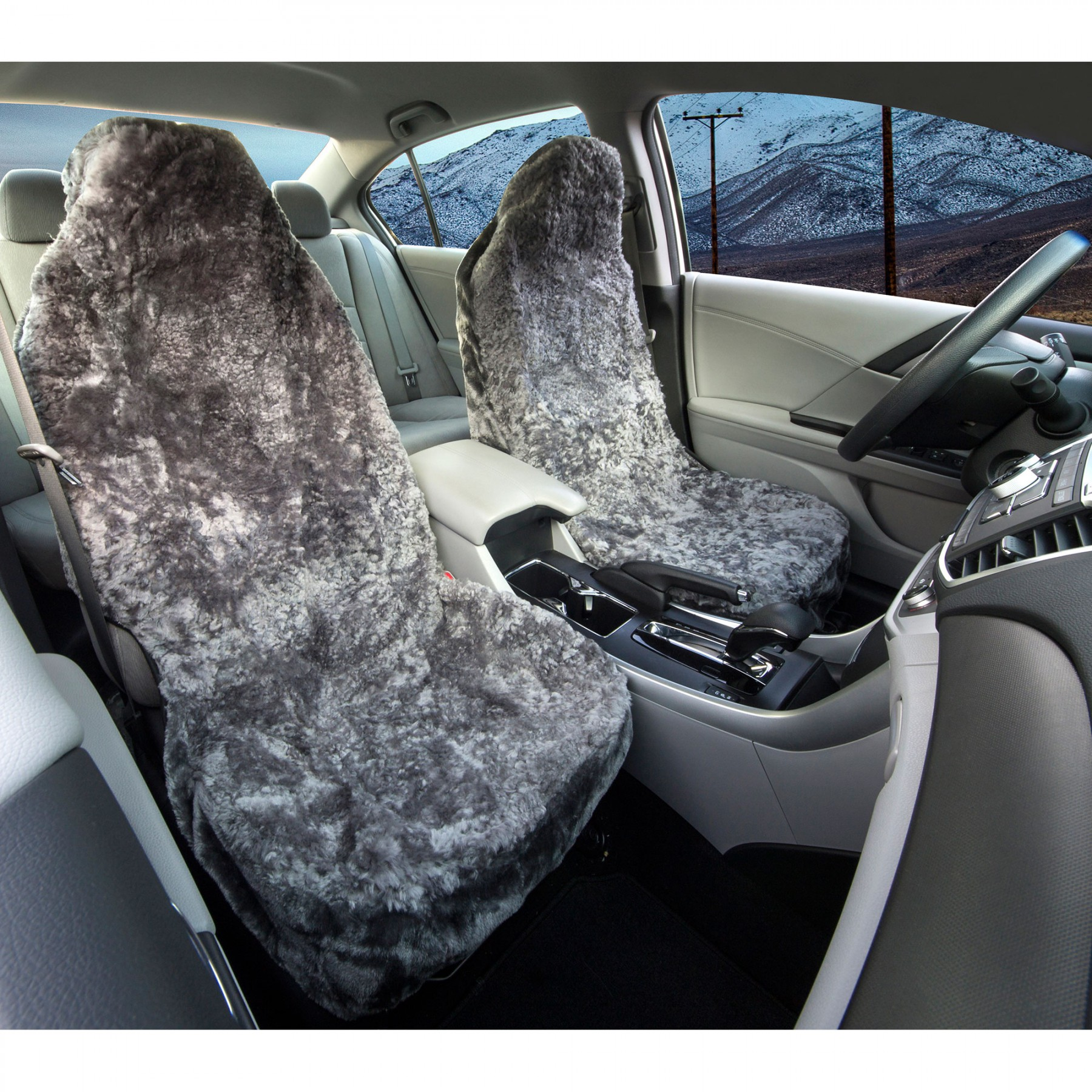 Grey Sheepskin Seat Covers Front