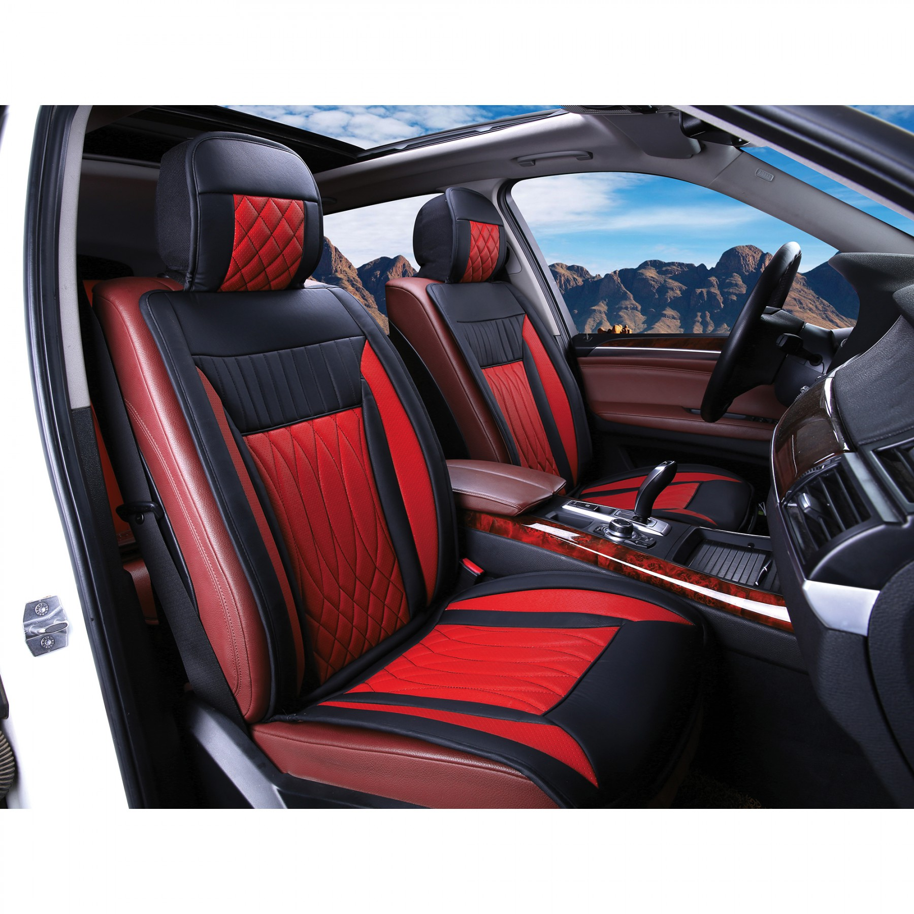 Luxury Series Red Car Front Seat Cover