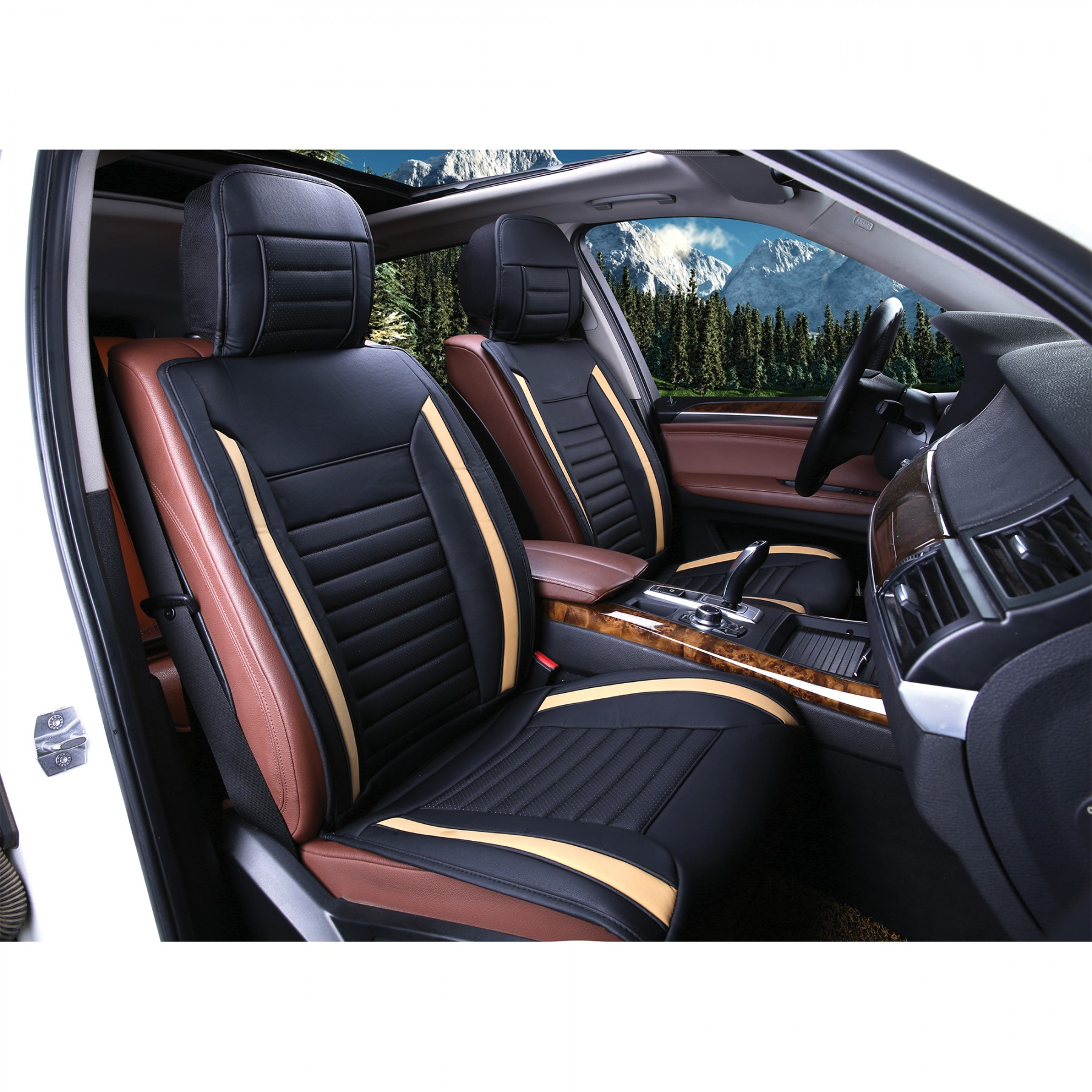 luxury series tan car front seat cover auto seat covers masque. Black Bedroom Furniture Sets. Home Design Ideas