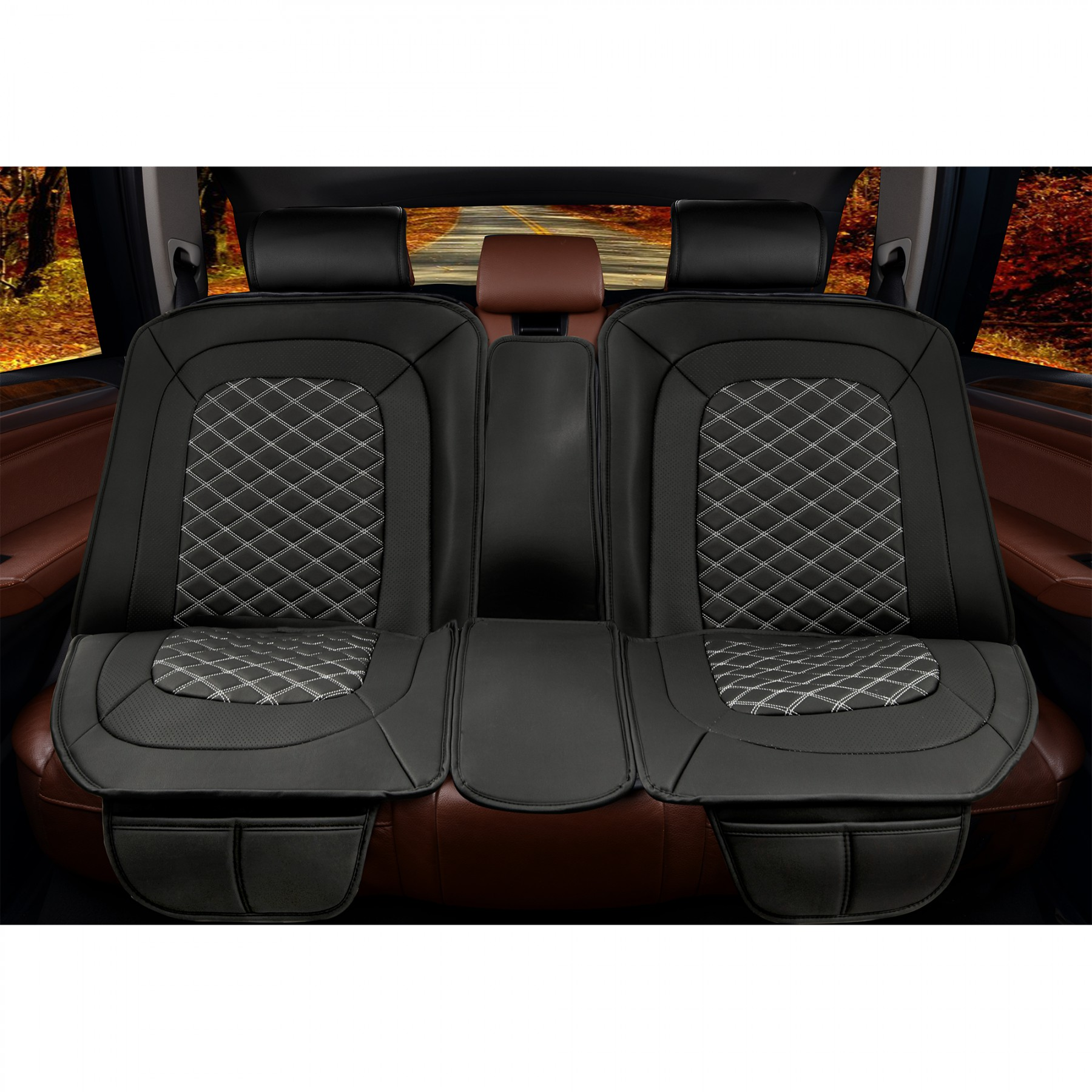 Luxury Series Black Diamond Car Rear Seat Cover